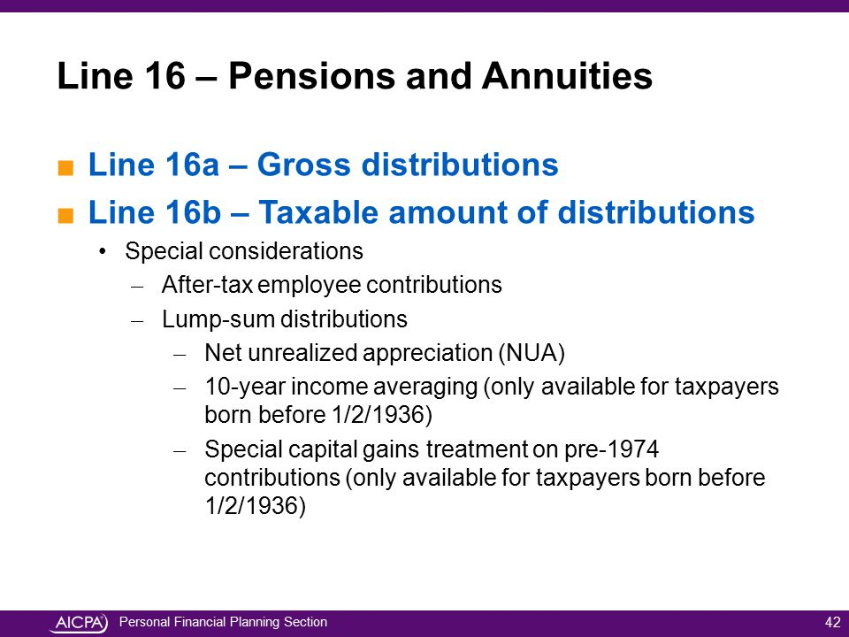 Personal Financial Planning Section ■Line 16a – Gross distributions ■Line 16b – Taxable amount of distributions Special considerations ̶ After-tax emp