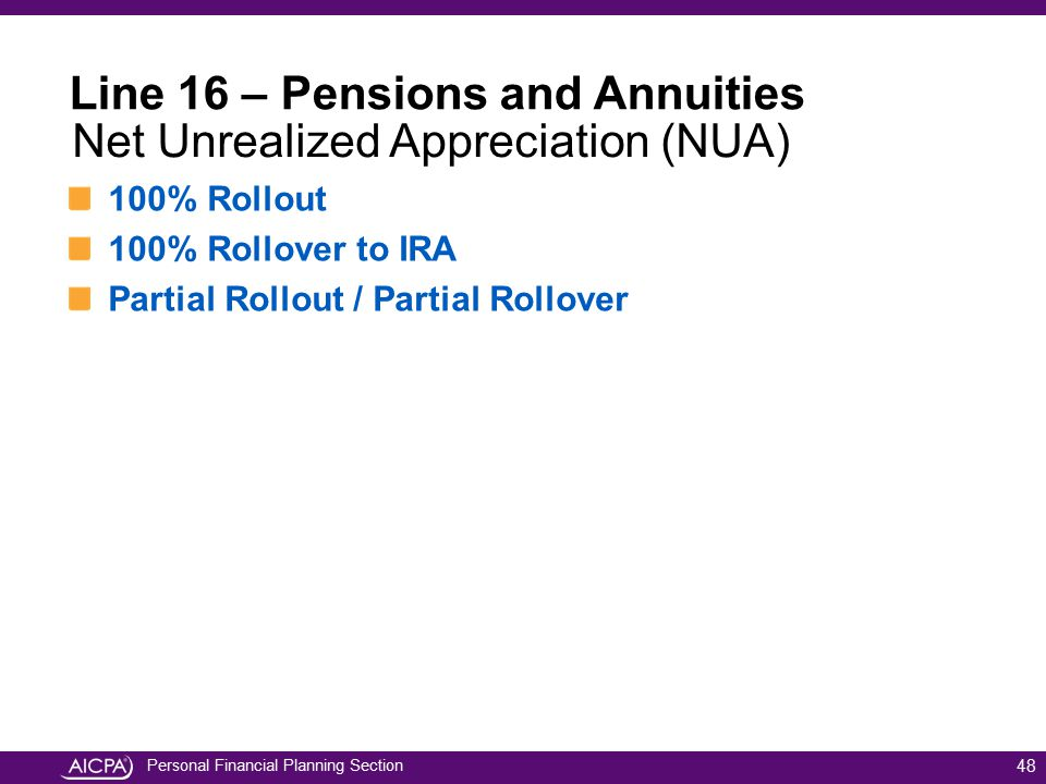Personal Financial Planning Section 100% Rollout 100% Rollover to IRA Partial Rollout / Partial Rollover 48 Line 16 – Pensions and Annuities Net Unrea