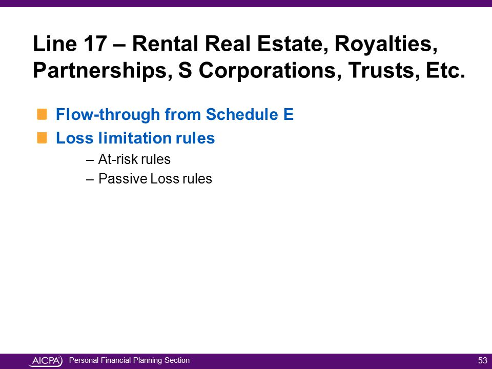 Personal Financial Planning Section Flow-through from Schedule E Loss limitation rules –At-risk rules –Passive Loss rules 53 Line 17 – Rental Real Est