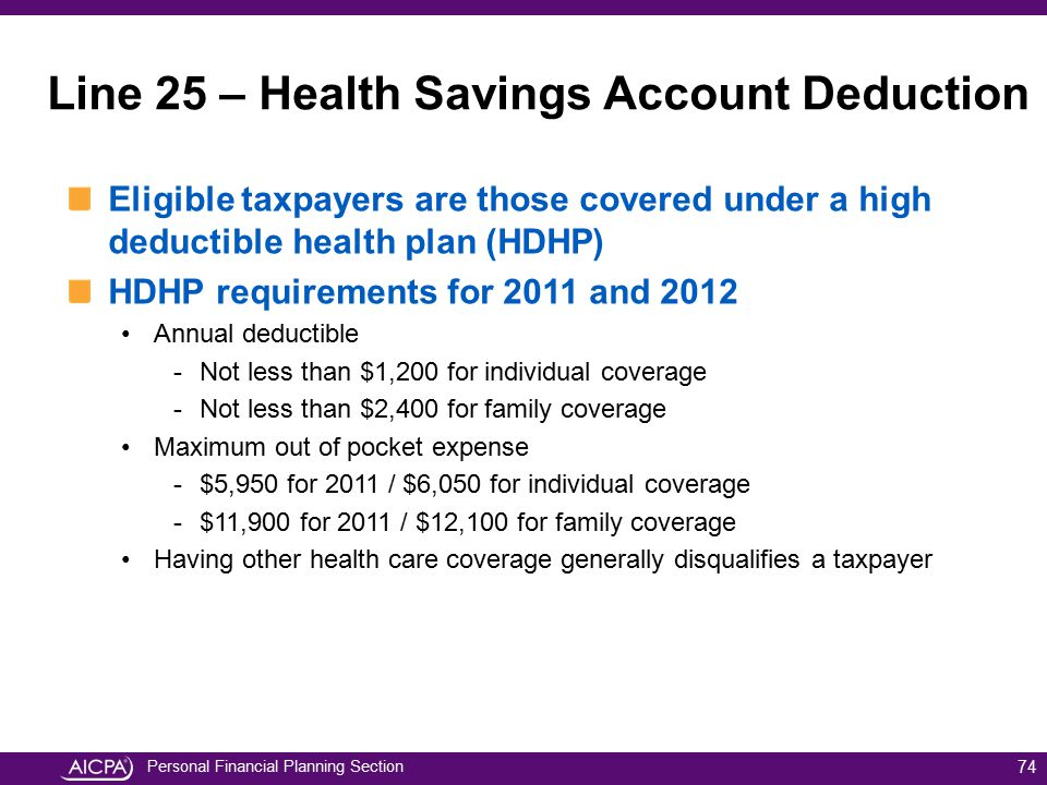 Personal Financial Planning Section Eligible taxpayers are those covered under a high deductible health plan (HDHP) HDHP requirements for 2011 and 201