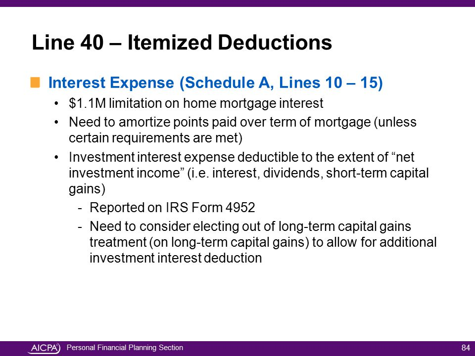 Personal Financial Planning Section Interest Expense (Schedule A, Lines 10 – 15) $1.1M limitation on home mortgage interest Need to amortize points pa