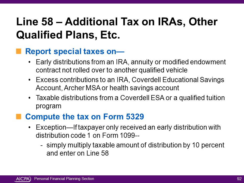 Personal Financial Planning Section Report special taxes on— Early distributions from an IRA, annuity or modified endowment contract not rolled over t