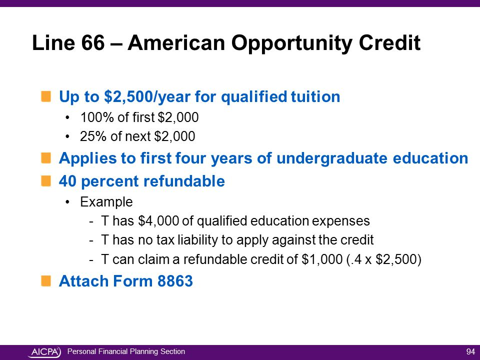 Personal Financial Planning Section Line 66 – American Opportunity Credit Up to $2,500/year for qualified tuition 100% of first $2,000 25% of next $2,