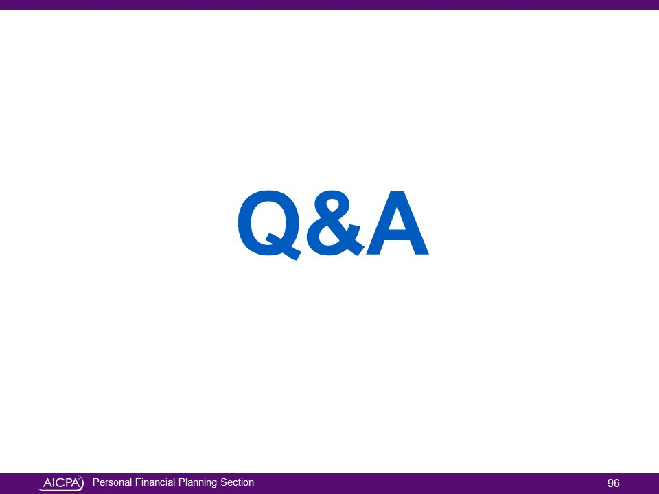 Personal Financial Planning Section Q&A 96