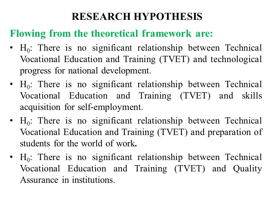 RESEARCH HYPOTHESIS Flowing from the theoretical framework are: H 0 : There is no significant relationship between Technical Vocational Education and