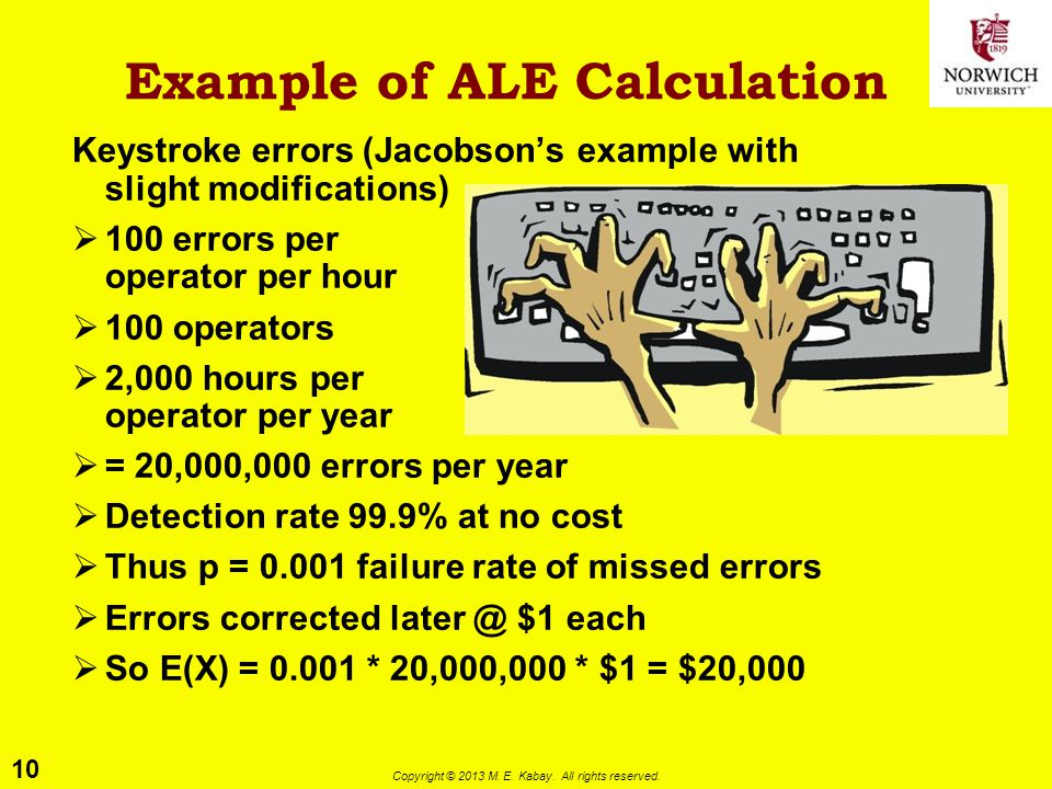 10 Copyright © 2013 M. E. Kabay. All rights reserved. Example of ALE Calculation Keystroke errors (Jacobson's example with slight modifications)  100
