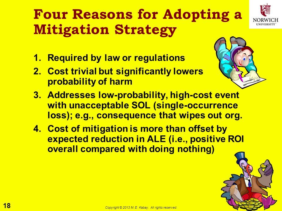 18 Copyright © 2013 M. E. Kabay. All rights reserved. Four Reasons for Adopting a Mitigation Strategy 1.Required by law or regulations 2.Cost trivial