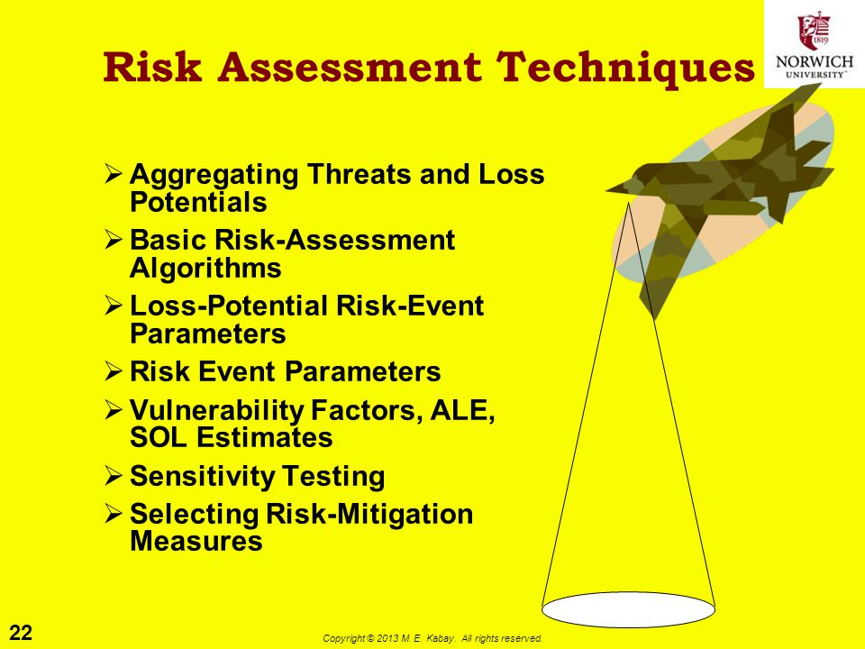 22 Copyright © 2013 M. E. Kabay. All rights reserved. Risk Assessment Techniques  Aggregating Threats and Loss Potentials  Basic Risk-Assessment Alg
