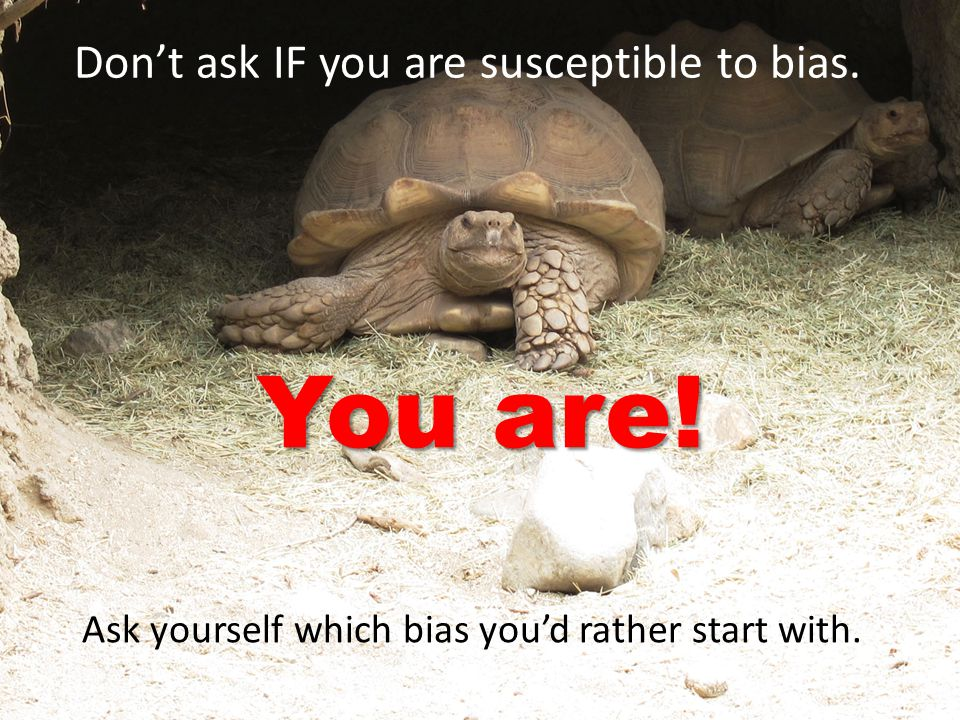 Don't ask IF you are susceptible to bias. You are! Ask yourself which bias you'd rather start with.