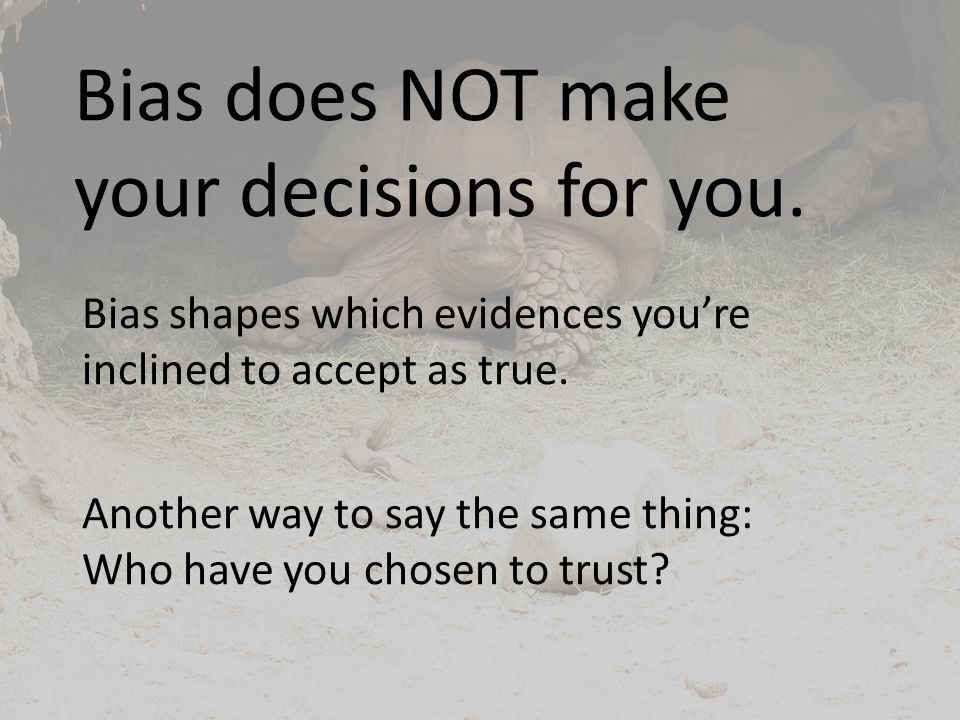 Bias does NOT make your decisions for you.