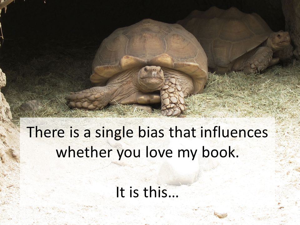 There is a single bias that influences whether you love my book. It is this…