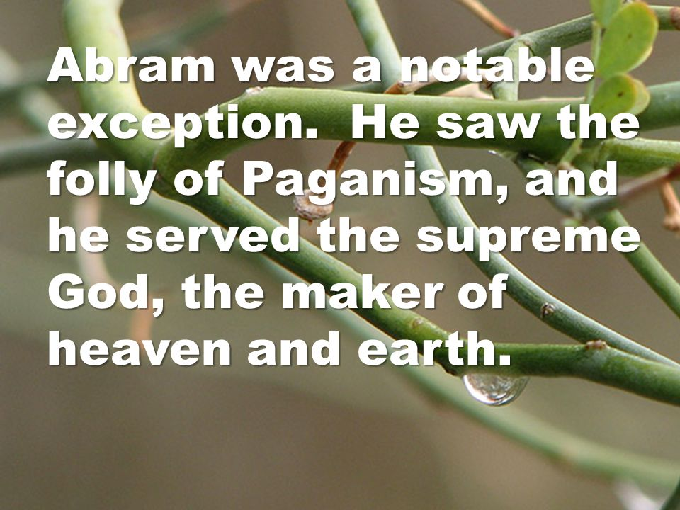 Abram was a notable exception.