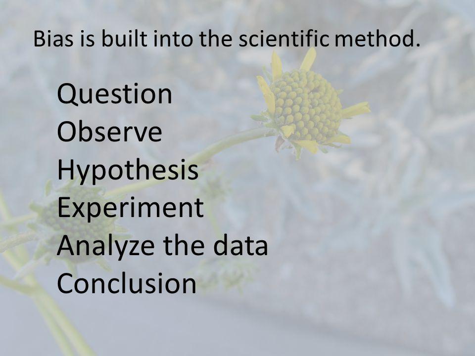 Question Observe Hypothesis Experiment Analyze the data Conclusion