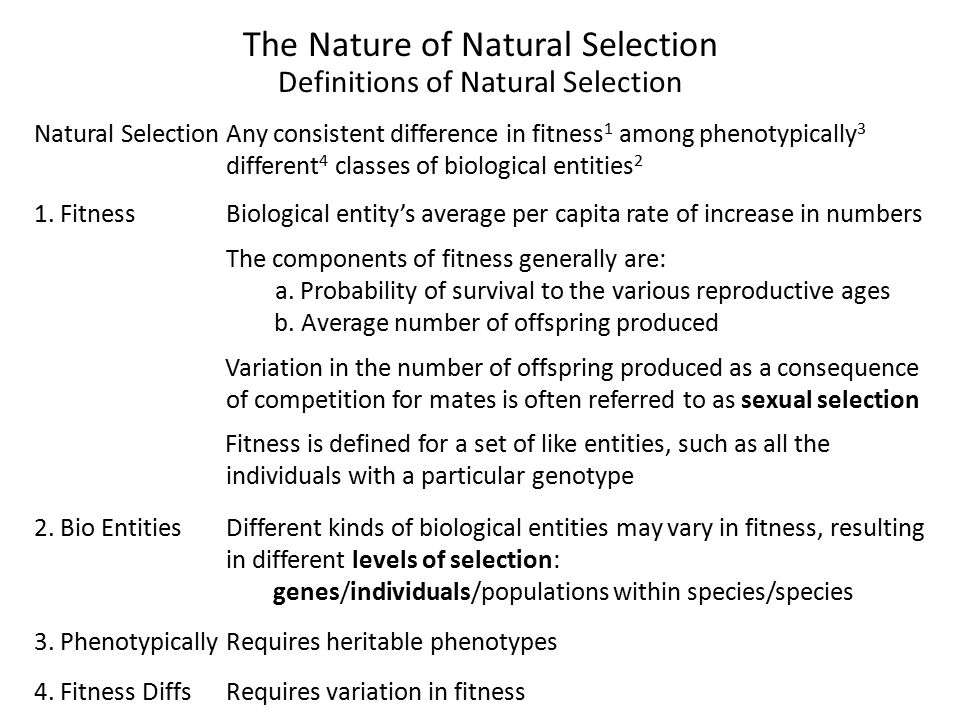 The Nature of Natural Selection Definitions of Natural Selection Natural SelectionAny consistent difference in fitness 1 among phenotypically 3 different 4 classes of biological entities 2 1.
