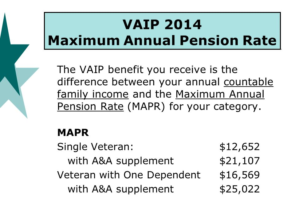 VAIP 2014 Maximum Annual Pension Rate The VAIP benefit you receive is the difference between your annual countable family income and the Maximum Annual Pension Rate (MAPR) for your category.
