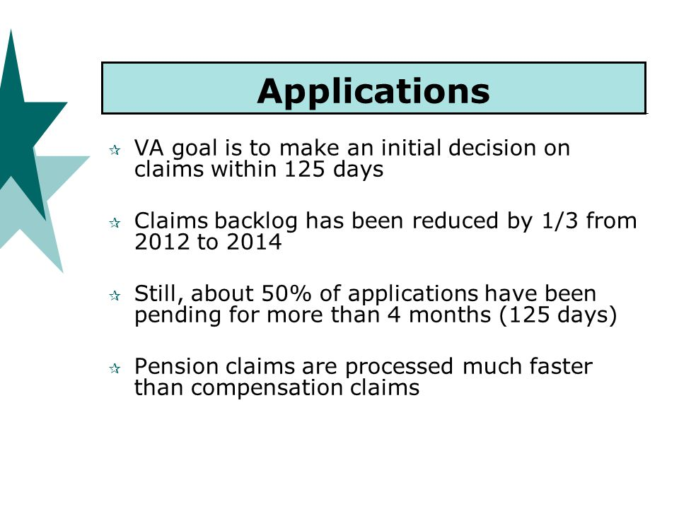 Applications  VA goal is to make an initial decision on claims within 125 days  Claims backlog has been reduced by 1/3 from 2012 to 2014  Still, about 50% of applications have been pending for more than 4 months (125 days)  Pension claims are processed much faster than compensation claims