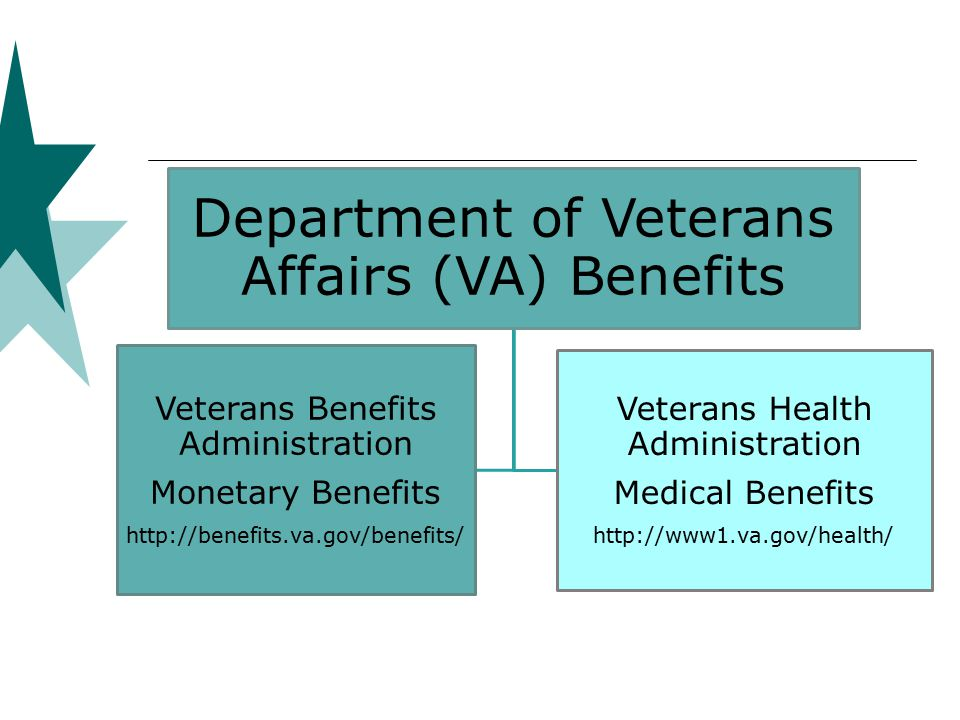 Department of Veterans Affairs (VA) Benefits Veterans Benefits Administration Monetary Benefits http://benefits.va.gov/benefits/ Veterans Health Administration Medical Benefits http://www1.va.gov/health/