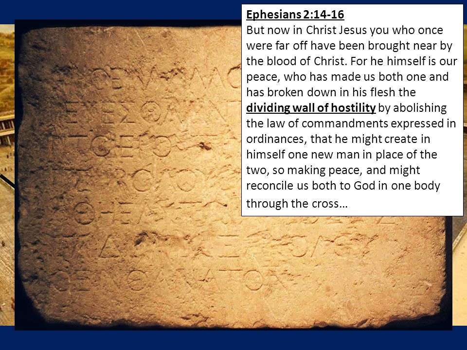 Ephesians 2:14-16 But now in Christ Jesus you who once were far off have been brought near by the blood of Christ. For he himself is our peace, who ha