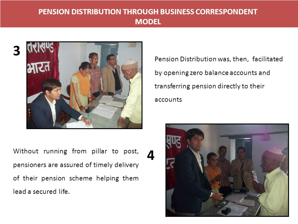 PENSION DISTRIBUTION THROUGH BUSINESS CORRESPONDENT MODEL 3 4 Pension Distribution was, then, facilitated by opening zero balance accounts and transfe