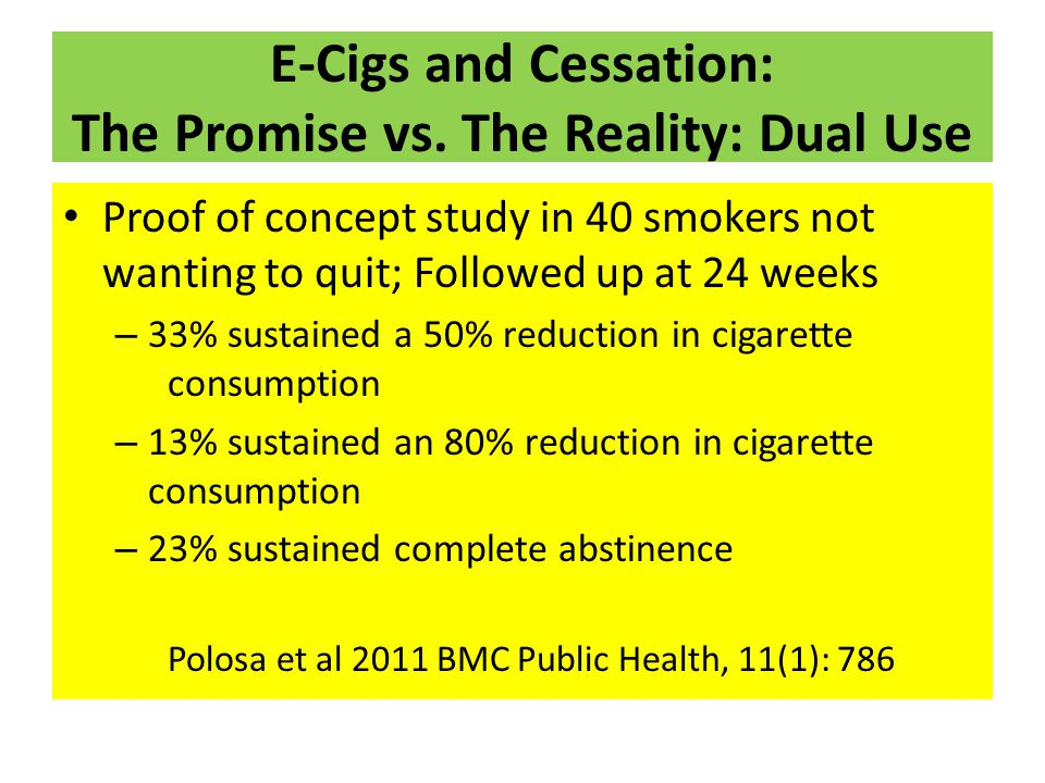 E-Cigs and Cessation: The Promise vs. The Reality: Dual Use Proof of concept study in 40 smokers not wanting to quit; Followed up at 24 weeks – 33% su