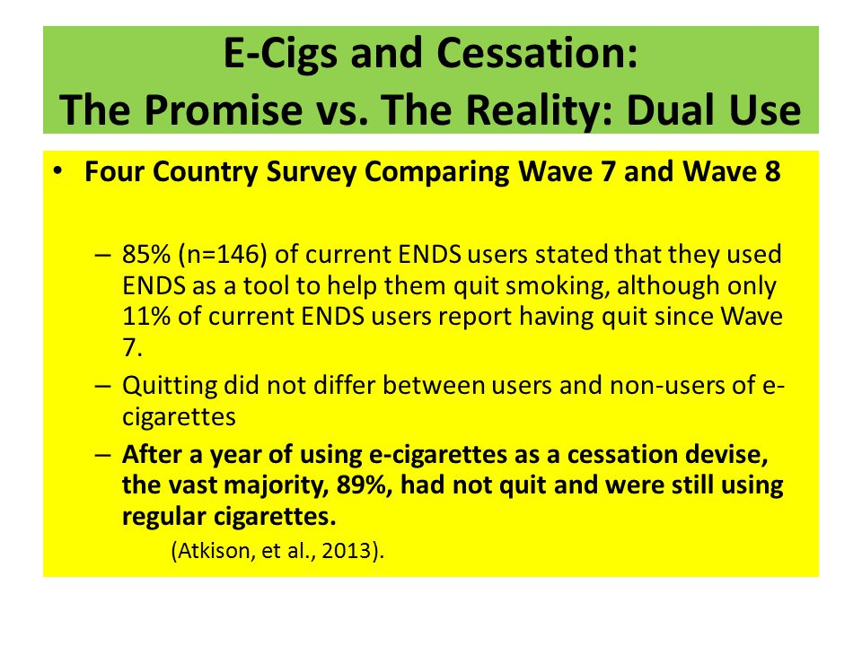 E-Cigs and Cessation: The Promise vs. The Reality: Dual Use Four Country Survey Comparing Wave 7 and Wave 8 – 85% (n=146) of current ENDS users stated