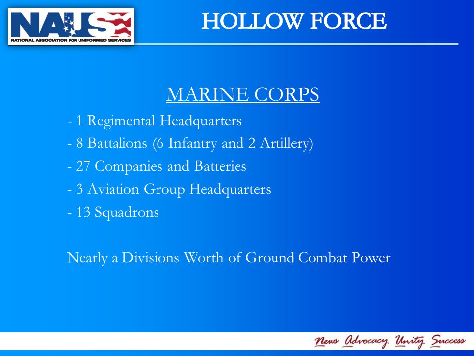 MARINE CORPS - 1 Regimental Headquarters - 8 Battalions (6 Infantry and 2 Artillery) - 27 Companies and Batteries - 3 Aviation Group Headquarters - 13 Squadrons Nearly a Divisions Worth of Ground Combat Power
