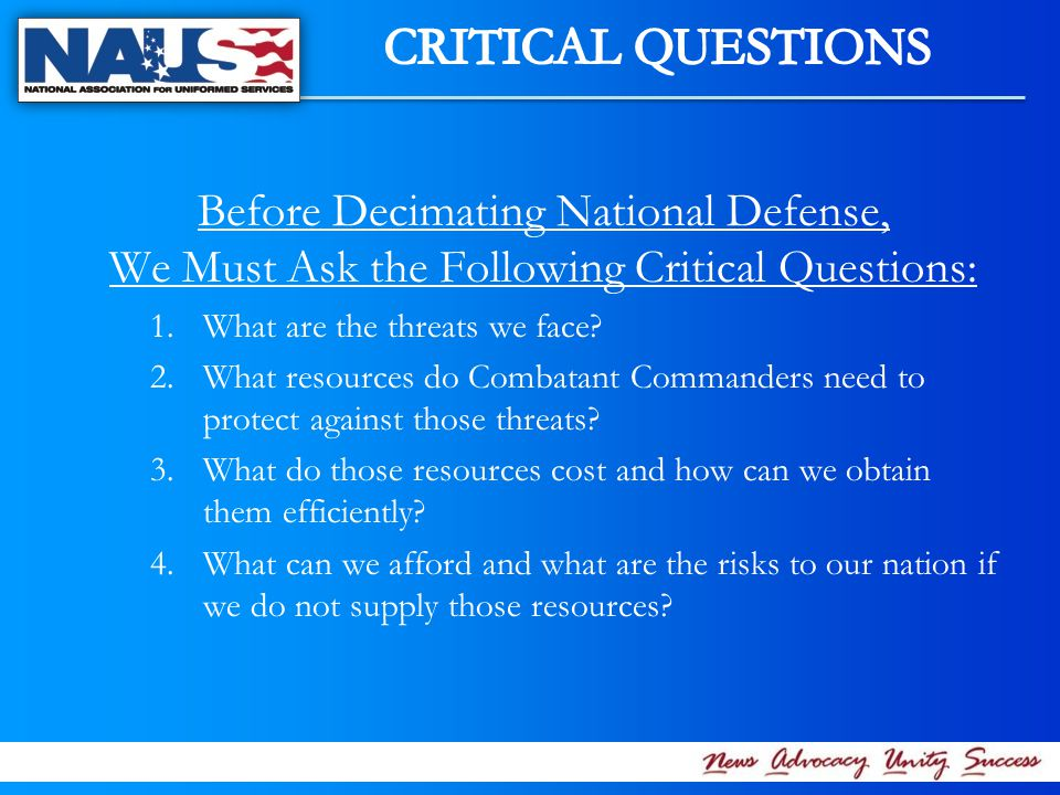Before Decimating National Defense, We Must Ask the Following Critical Questions: 1.What are the threats we face.