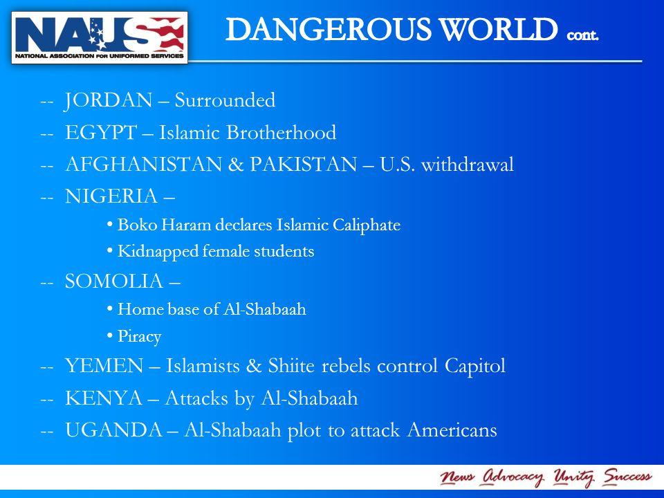 -- JORDAN – Surrounded -- EGYPT – Islamic Brotherhood -- AFGHANISTAN & PAKISTAN – U.S.