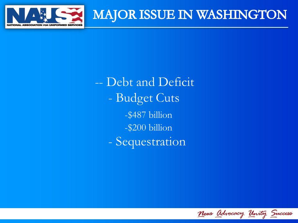 -- Debt and Deficit - Budget Cuts -$487 billion -$200 billion - Sequestration