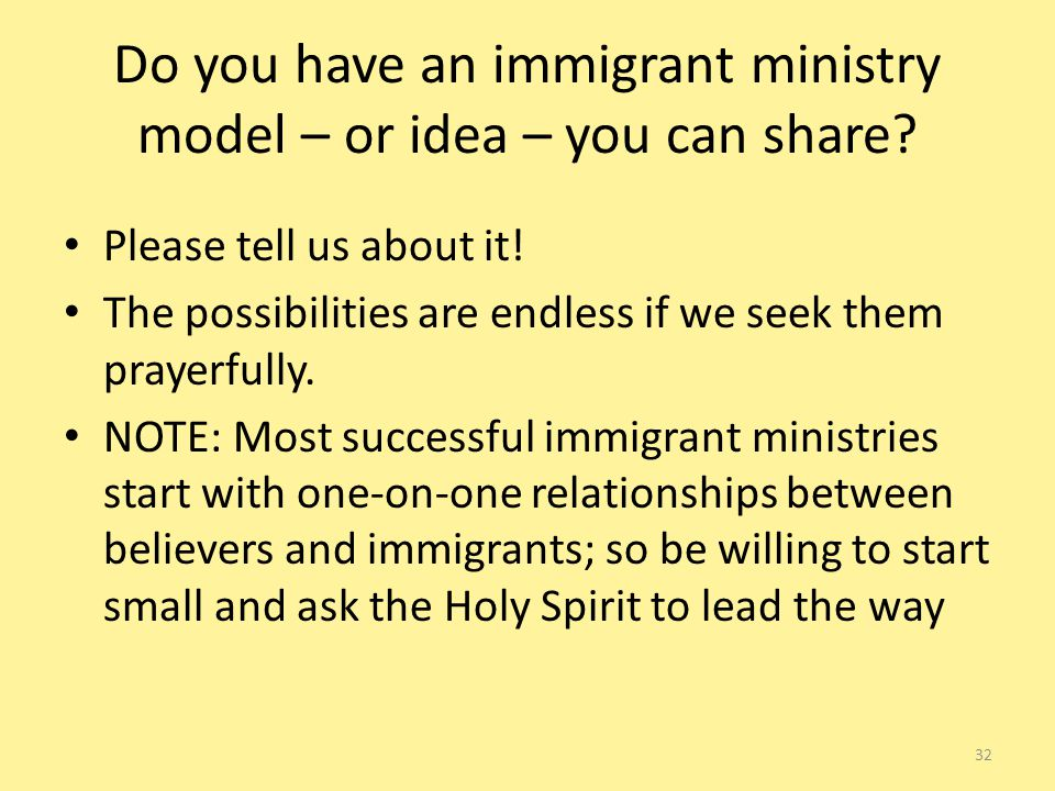 Do you have an immigrant ministry model – or idea – you can share.