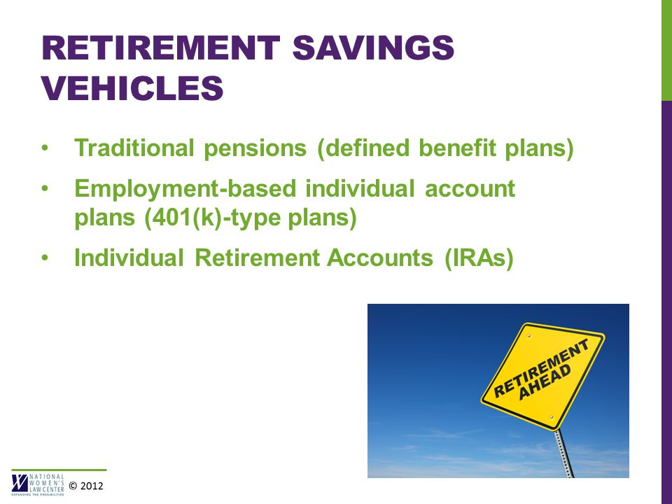 RETIREMENT SAVINGS VEHICLES Traditional pensions (defined benefit plans) Employment-based individual account plans (401(k)-type plans) Individual Retirement Accounts (IRAs)