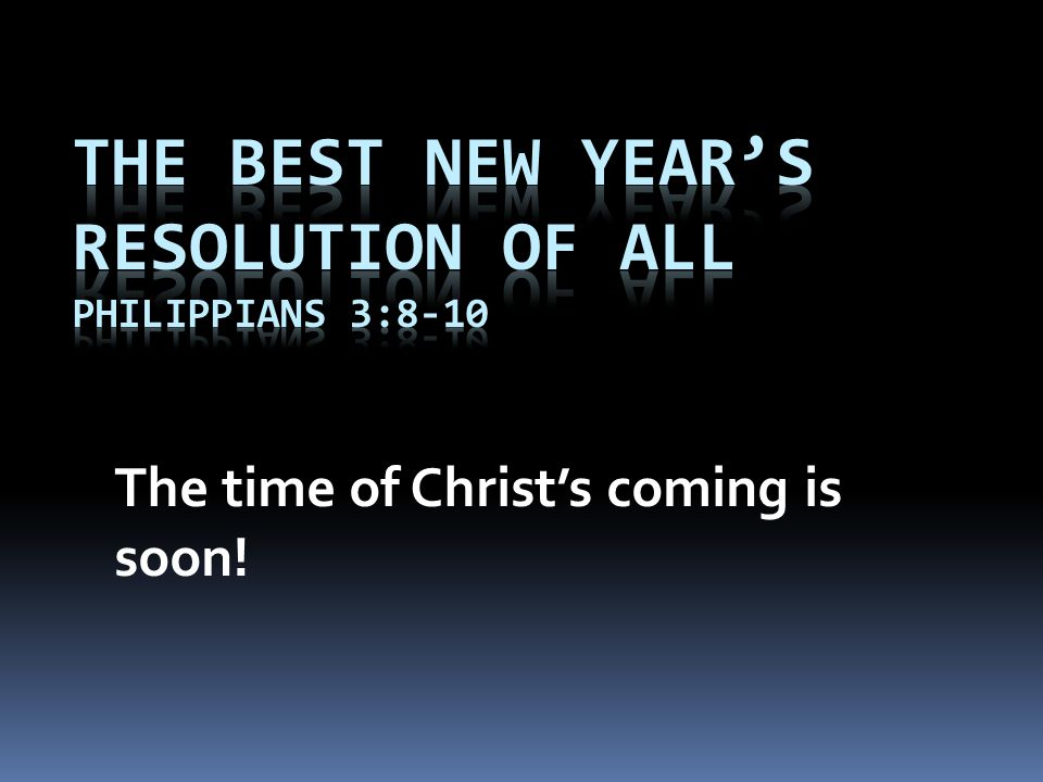 The time of Christ's coming is soon!