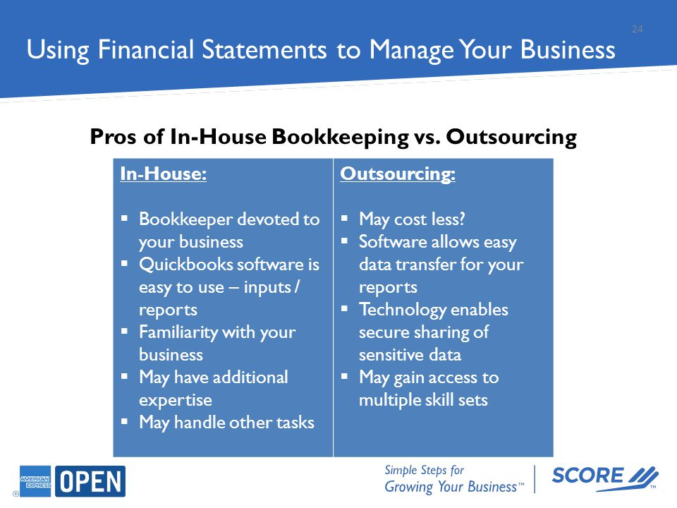 24 In-House:  Bookkeeper devoted to your business  Quickbooks software is easy to use – inputs / reports  Familiarity with your business  May have