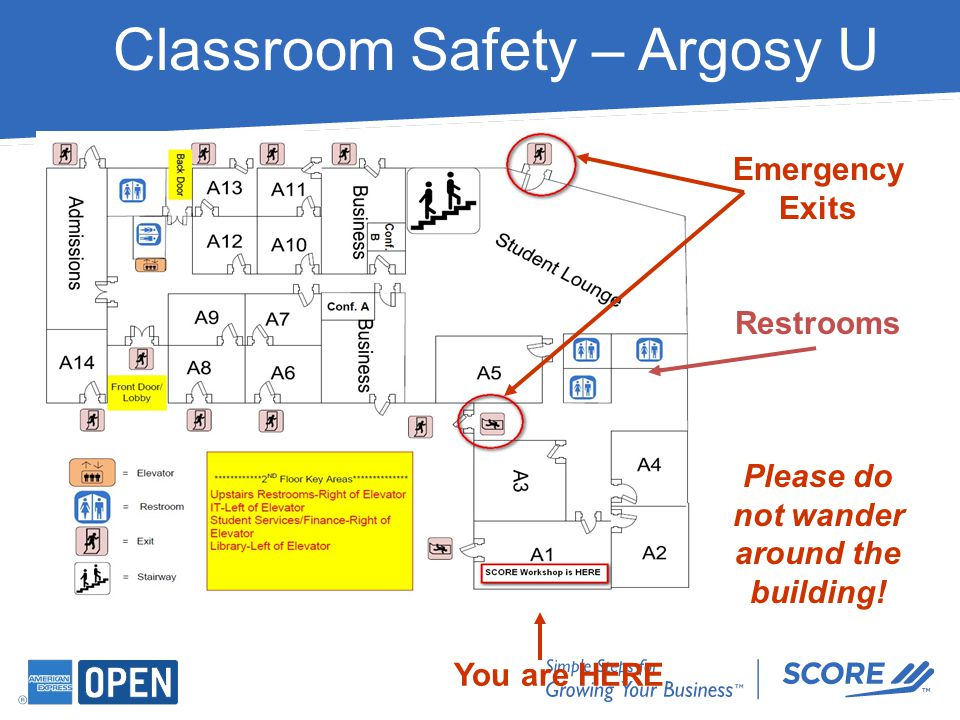 Classroom Safety – Argosy U Emergency Exits Restrooms Please do not wander around the building! You are HERE