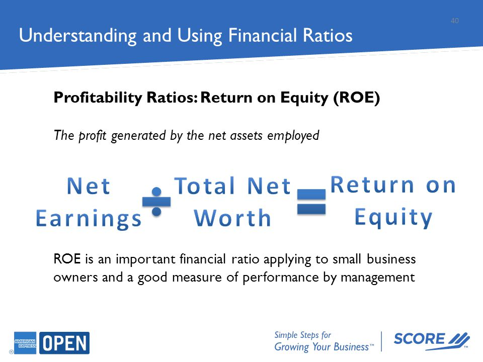 Understanding and Using Financial Ratios Profitability Ratios: Return on Equity (ROE) The profit generated by the net assets employed ROE is an import