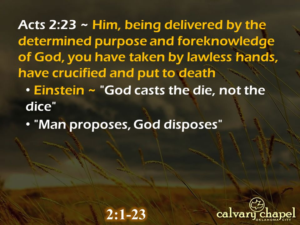 Acts 2:23 ~ Him, being delivered by the determined purpose and foreknowledge of God, you have taken by lawless hands, have crucified and put to death Einstein ~ God casts the die, not the dice Man proposes, God disposes