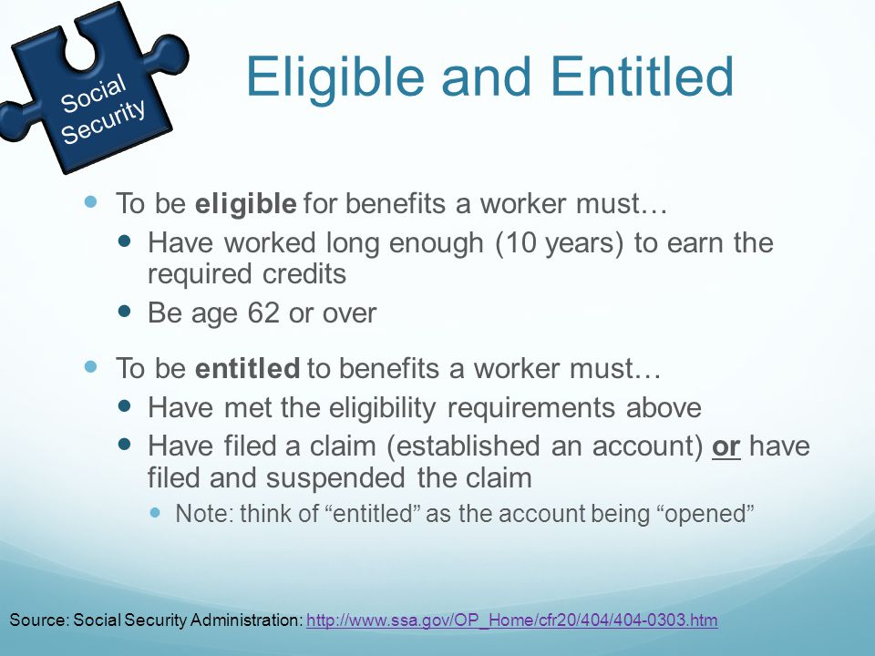 Eligible and Entitled To be eligible for benefits a worker must… Have worked long enough (10 years) to earn the required credits Be age 62 or over To be entitled to benefits a worker must… Have met the eligibility requirements above Have filed a claim (established an account) or have filed and suspended the claim Note: think of entitled as the account being opened Social Security Source: Social Security Administration: http://www.ssa.gov/OP_Home/cfr20/404/404-0303.htmhttp://www.ssa.gov/OP_Home/cfr20/404/404-0303.htm