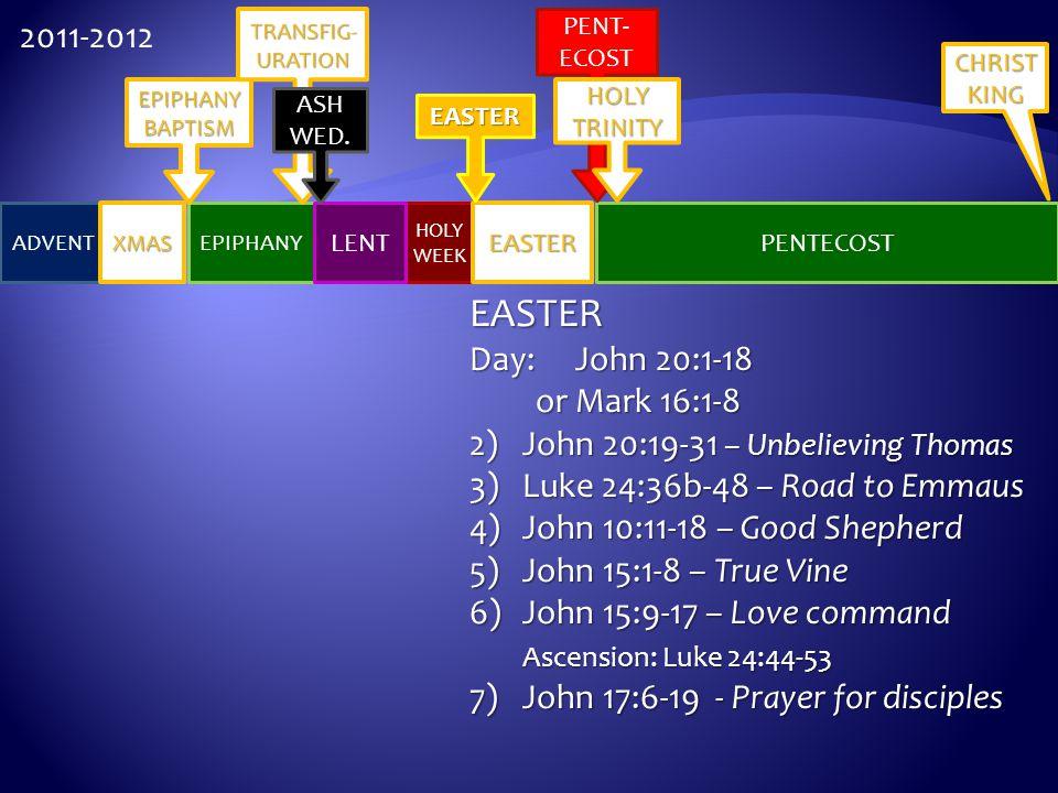 HOLY WEEK ADVENT EASTER PENTECOST XMAS EPIPHANY LENT EPIPHANYBAPTISM TRANSFIG- URATION EASTER ASH WED. PENT- ECOST HOLY TRINITY CHRIST KING 2011-2012
