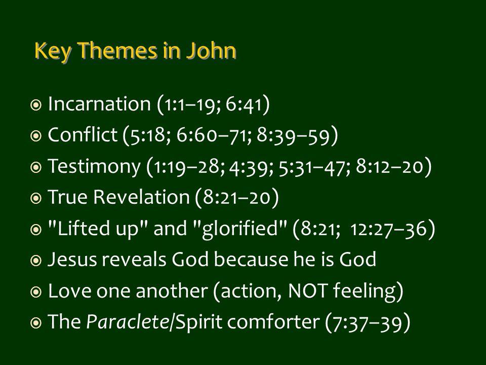  Incarnation (1:1–19; 6:41)  Conflict (5:18; 6:60–71; 8:39–59)  Testimony (1:19–28; 4:39; 5:31–47; 8:12–20)  True Revelation (8:21–20) 