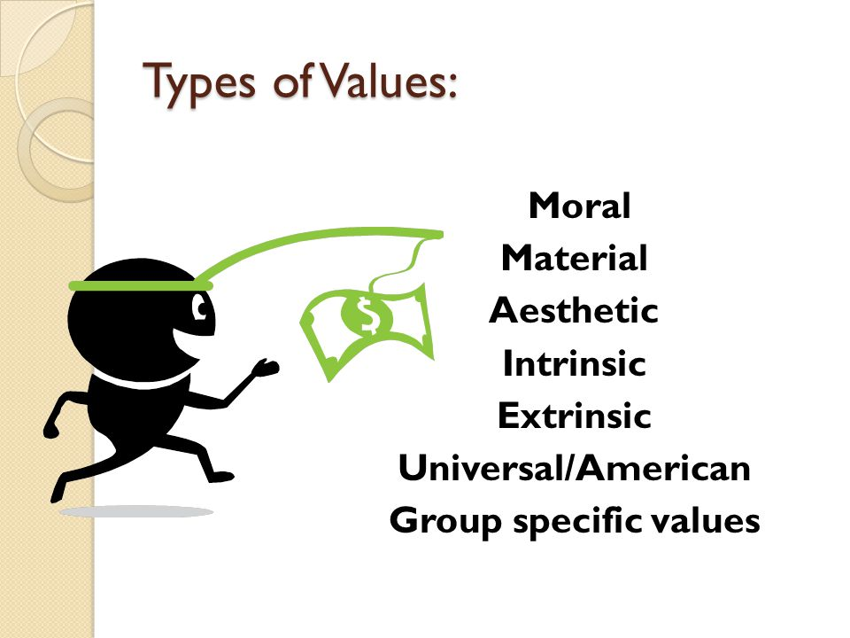 Types of Values: Moral Material Aesthetic Intrinsic Extrinsic Universal/American Group specific values