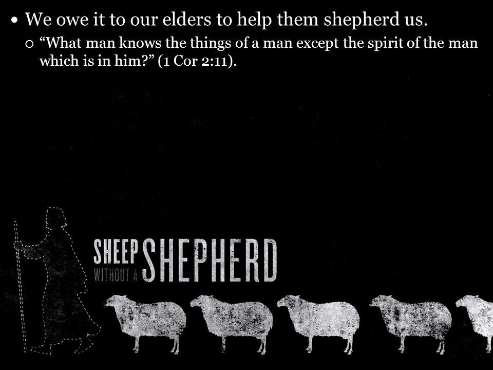 We owe it to our elders to help them shepherd us.