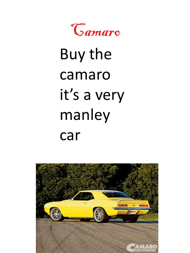 Camaro Buy the camaro it's a very manley car