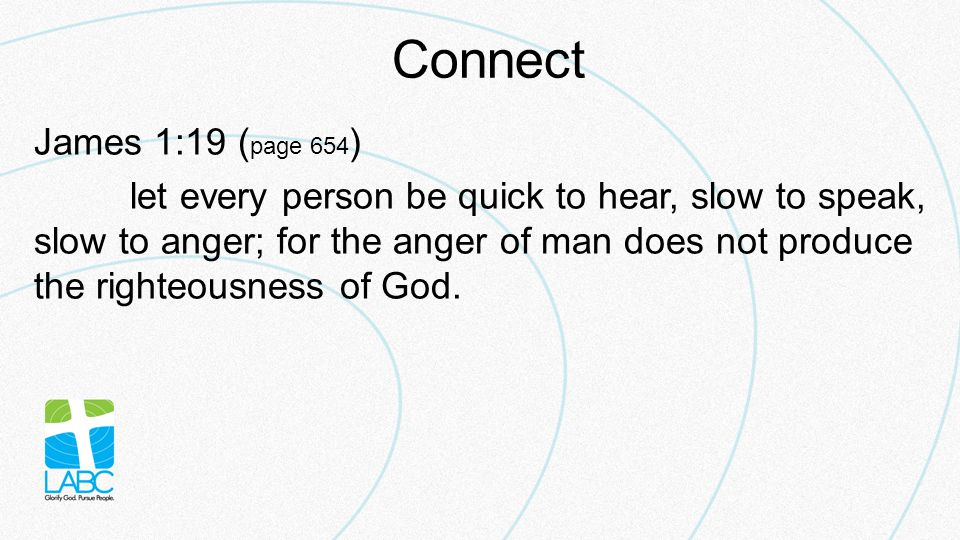 Connect James 1:19 ( page 654 ) let every person be quick to hear, slow to speak, slow to anger; for the anger of man does not produce the righteousness of God.