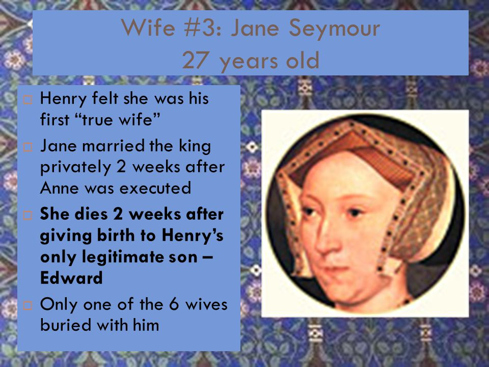 Wife # 2: Anne Boleyn 26 years old  Archbishop of Canterbury Thomas Cranmer married them in 1533  Had one surviving child – Elizabeth  Couldn't produce a son  Accused her of incest, treason, and adultery  Had her beheaded at the Tower of London