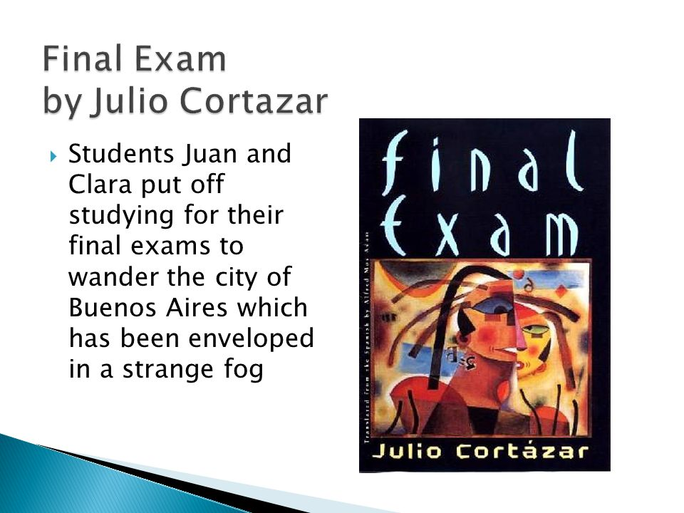Final Exam by Julio Cortazar  Students Juan and Clara put off studying for their final exams to wander the city of Buenos Aires which has been enveloped in a strange fog