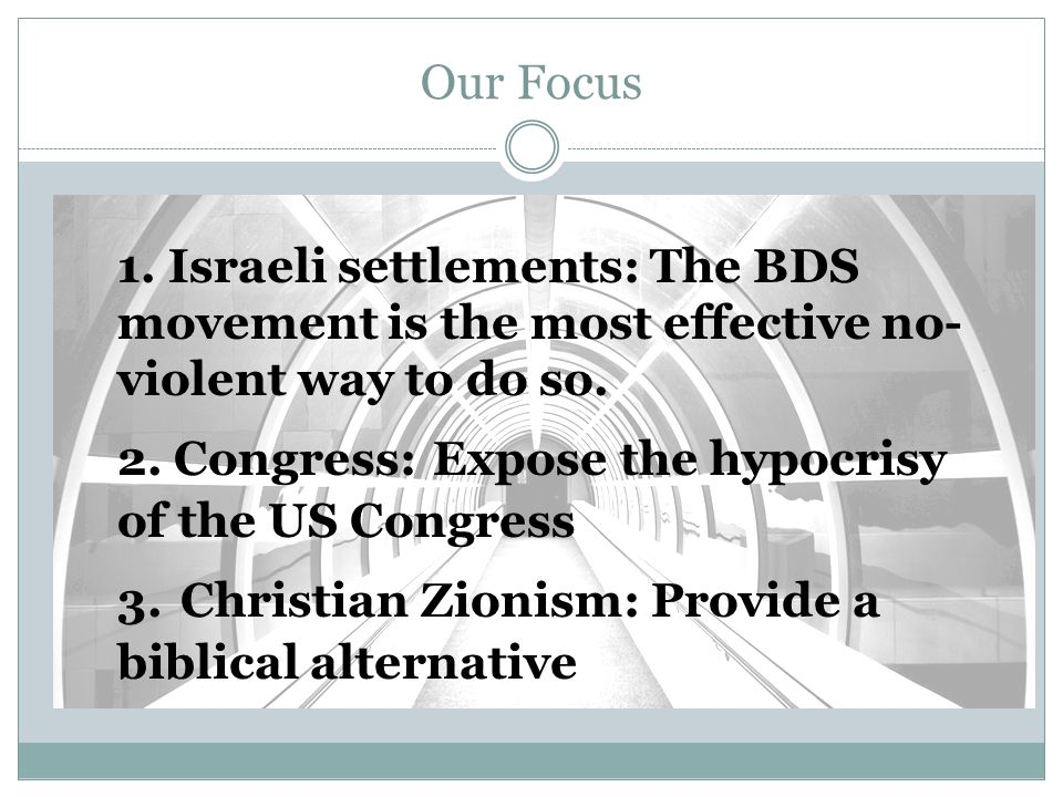Our Focus 1. Israeli settlements: The BDS movement is the most effective no- violent way to do so.