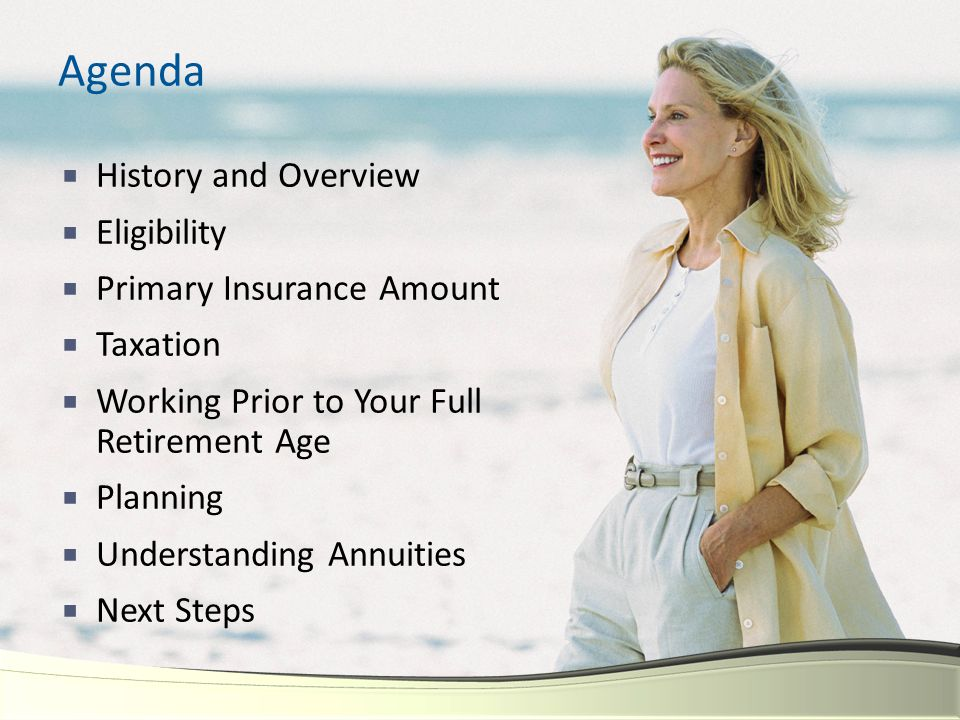 Agenda  History and Overview  Eligibility  Primary Insurance Amount  Taxation  Working Prior to Your Full Retirement Age  Planning  Understandi