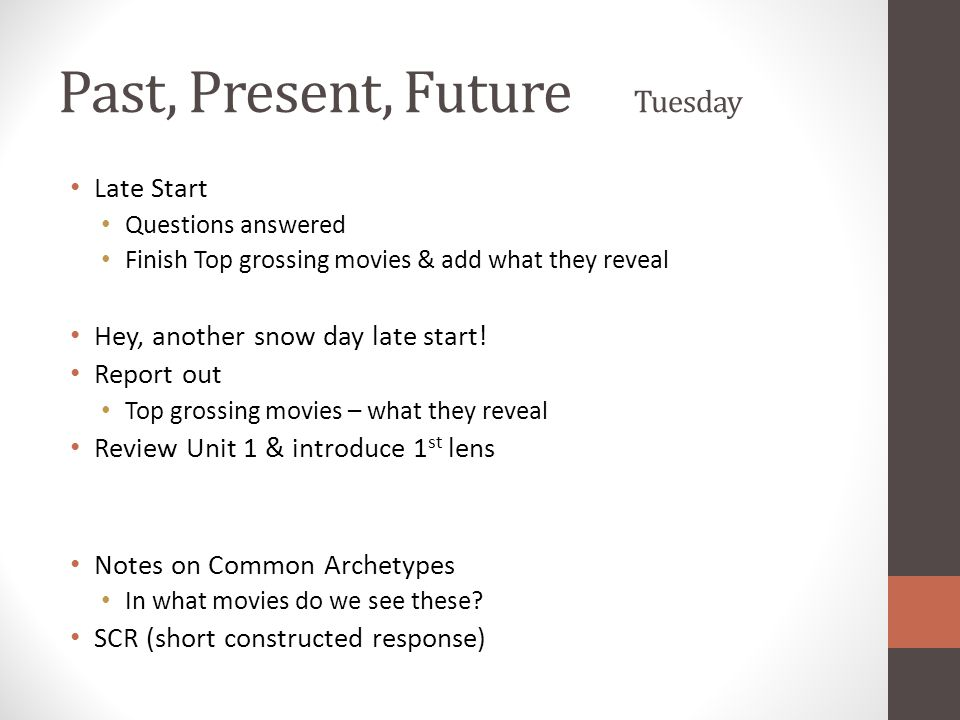 Past, Present, Future Tuesday Late Start Questions answered Finish Top grossing movies & add what they reveal Hey, another snow day late start.