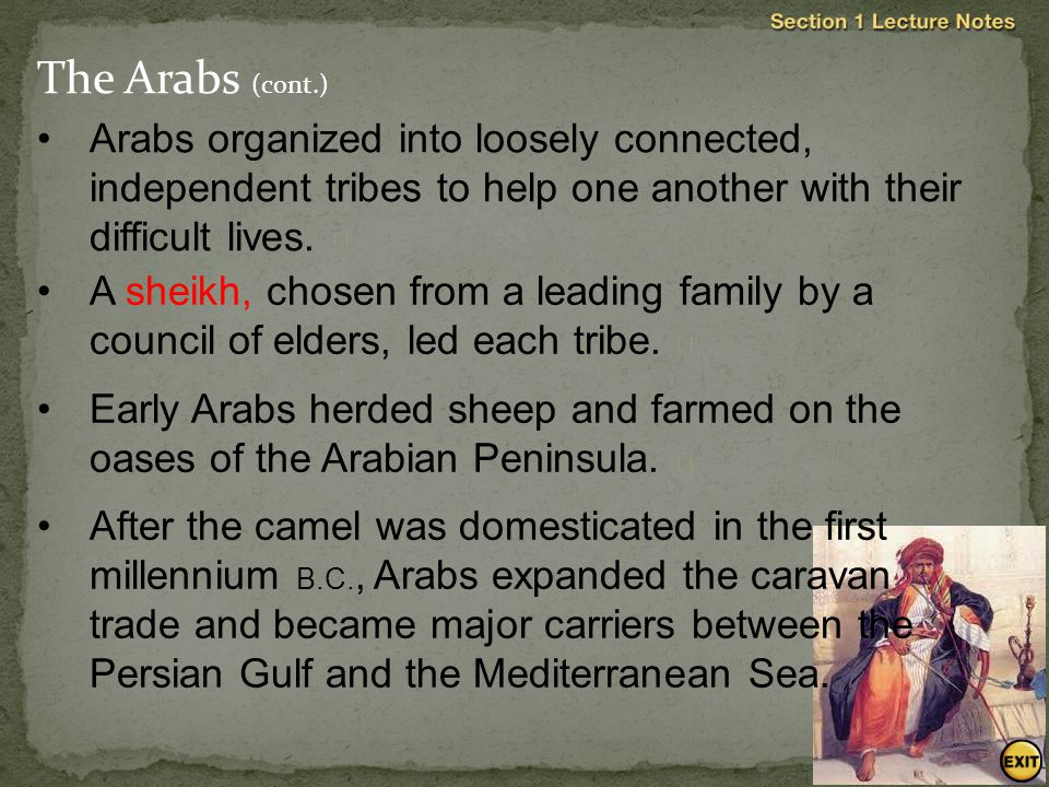 The Arabs The Arabs were a nomadic, Semitic-speaking people who lived in the Arabian Peninsula, a harsh desert with little water.  The hostile surrou