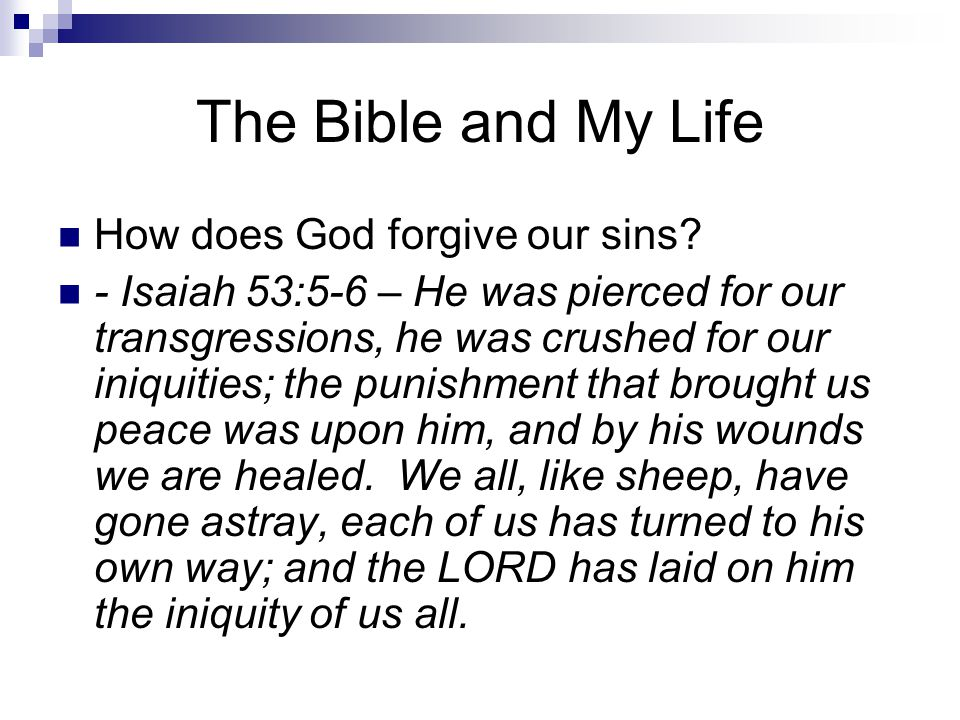 The Bible and My Life How does God forgive our sins.